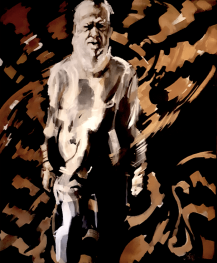 2019 is the year of minings end on Minjerribah, thanks to Native Title. Portraite of Dr Robert Anderson OAM Nughi elder and traditional owner of the Quandamooka is here seen 'walking country once more' - once denied him by foreign-owned. mining companies. Artwork by Jo Fay Duncan